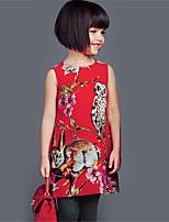 Vestido Chica de-Casual/Diario-Estampado-Algodón-Verano-Rojo