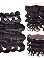6A Grade Unprocessed Malaysian Virgin Hair Bundles With Lace Frontal Free Part Body Wave With Baby Hair