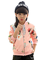 Girl's Casual/Daily Print Jacket & CoatCotton Spring / Fall Black / Pink