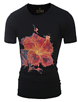 Men's Cotton Black Summer Flowers 3D three-dimensional Printing Casual Round Neck Short sleeve T-shirt