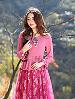 Our Story Going out Vintage Spring / Fall T-shirtEmbroidered Round Neck Long Sleeve Pink Rayon / Polyester