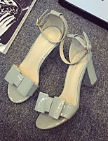 Women's Sandals Summer Comfort Patent Leather Casual Chunky Heel Bowknot White / Gray / Almond Others