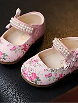 Girl's Flats Spring / Summer Mary Jane Dress Flat Heel Bowknot / Beading Brown / Pink Walking
