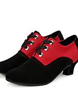 Non Customizable Women's Dance Shoes Suede Latin / Dance Boots Sneakers Low Heel Practice / Outdoor Black