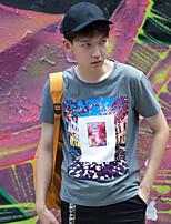 WOWTEE Herren Rundhalsausschnitt Kurze Ärmel T-Shirt Schwarz / Grau-WT-TX021