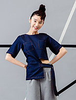 ROOM404  Women's Going out Street chic Summer BlouseSolid Round Neck Length Sleeve Blue Rayon / Spandex Opaque