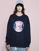 NEATO  Women's Casual/Daily Simple Regular HoodiesPrint Blue Round Neck Long Sleeve Cotton Spring / Fall