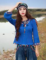 רקמה צווארון עגול סגנון סיני ליציאה טישרט נשים,אביב / סתיו שרוול ארוך כחול בינוני (מדיום) אקריליק / ספנדקס