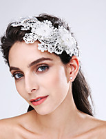 Women's Lace / Tulle / Imitation Pearl / Acrylic Headpiece-Wedding / Special Occasion Flowers 1 Piece Beige