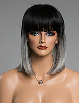 peluca de cabello humano excepcional liso medio explosión aseada