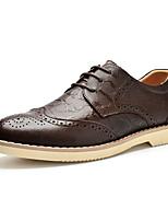Черный Коричневый-Мужской-Повседневный-Кожа-На плоской подошве-Удобная обувь-Туфли на шнуровке