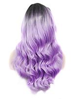 imstyle 22cosplay enracinée lilas longs ondulés perruque machine synthétique pour partie