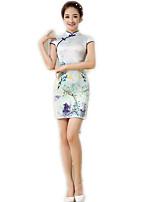 One-Piece Short Sleeve Medium Length Cyan Lolita Dress Polyester