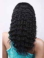 Unprocessed Brazilian Virgin Human Hair Black Color Curly Lace Front Wig With Baby Hair