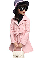 Girl's Casual/Daily Solid Trench CoatPU Spring / Fall Black / Blue / Red