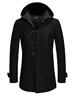 Men's Solid Casual / Work / Formal / Plus Size CoatWool / Acrylic / Polyester / Nylon Long Sleeve-Black / Blue