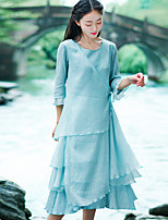 Women's Casual/Daily Chinoiserie Loose DressSolid Round Neck Midi  Sleeve Green Cotton Summer Mid Rise Inelastic Thin