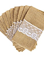 10Pcs Lot Jute Burlap Lace Tableware Fork & Knife Burlap Holder Cutlery Pocket Pouch Packaging Wedding Decoration