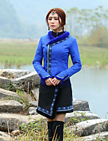 Feminino Jaqueta Happy-Hour Chinoiserie Inverno,Bordado Azul Poliéster Decote Princesa-Manga Longa Grossa