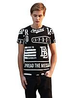 Herren T-shirt-Buchstabe Freizeit Baumwolle Kurz-Schwarz