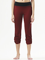 Yoga Pants Crop Breathable / Comfortable Natural Stretchy Sports Wear Black / Burgundy Women's SportsYoga