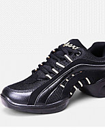 Non Customizable Women's Dance Shoes Leather Leather Latin / Modern Sneakers Flat Heel Practice / Outdoor Black
