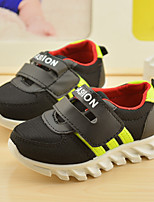 Unisex Sneakers Spring / Fall Flats PU Casual Flat Heel Magic Tape Black Sneaker