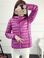 Women's Solid Blue / Pink / Red / Black / Green / Purple Down CoatSimple / Active Stand Long Sleeve