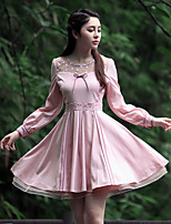 Our Story Women's Going out Vintage Sheath DressEmbroidered Round Neck Knee-length Long Sleeve Pink Polyester Summer