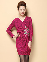 Boutique S Women's Plus Size / Formal Chinoiserie Sheath DressJacquard / Embroidered V Neck Above Knee