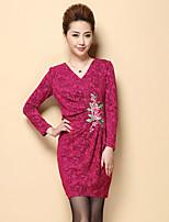 Mujer Vaina Vestido Formal / Tallas Grandes Tejido Oriental,Jacquard / Bordado Escote en Pico Sobre la rodilla Manga Larga Rojo Poliéster