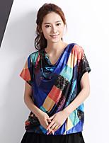 Yishidian® Damen Rundhalsausschnitt Kurze Ärmel T-Shirt Blau / Rosa-YSD1339