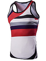 Men's Print Casual Tank TopsPolyester Sleeveless-White