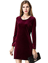 Damen Hülle Kleid-Lässig/Alltäglich / Arbeit Retro Solide Rundhalsausschnitt Mini Langarm Rot / Schwarz / Grün Polyester Frühling / Herbst