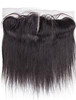 10inch to 20inch Черный 4X13 Закрытие Прямые Человеческие волосы закрытие Умеренно-коричневый Швейцарское кружево about 50g грамм Средние