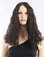 Top Quality Dark Brown Curly Wig Middle Long Synthetic Wig Low Price Hot Sale.