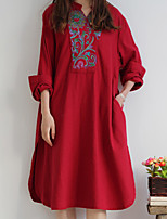 Cynthia Women's Casual/Daily Chinoiserie Tunic DressEmbroidered V Neck Knee-length Long Sleeve Red Cotton