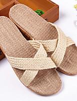 Men's Slippers & Flip-Flops Summer Slingback Linen Casual Flat Heel Others Blue / Brown / Beige Others