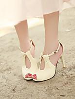 Women's Sandals Spring / Fall Peep Toe PU Outdoor Stiletto Heel Others Black / White / Beige Walking