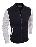 Men's Casual/Daily / Work / Sports Simple Jackets,Color Block Stand Long Sleeve Fall / Winter Red / Black Cotton Thick