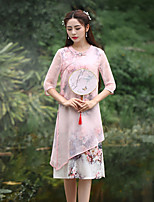Our Story  Women's Going out Chinoiserie Sheath DressFloral Round Neck Knee-length  Length Sleeve Pink