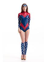 Costumes Super Heroes Halloween Red / Blue Patchwork Terylene Leotard/Onesie / More Accessories