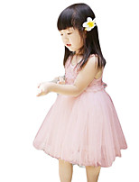 Girl's Going out Solid Dress,Others Summer Pink / White