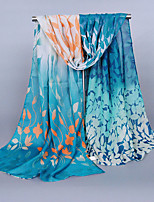 Women's Chiffon Leaf Print Scarf Green/Blue