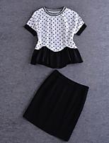 Tee-shirt Jupe Costumes Femme,Points Polka Sortie simple Eté ½ Manches Col Arrondi Blanc Coton Moyen