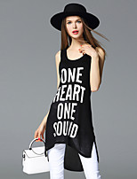 FRMZ  Going out Simple Summer Tank TopLetter Strap Sleeveless White / Black Rayon / Polyester Medium