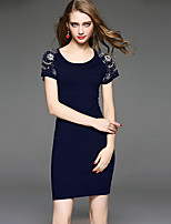 Women's Plus Size / Casual/Daily Simple Bodycon DressSolid Round Neck Above Knee Short Sleeve Blue Polyester