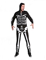 Cosplay Costumes Skeleton/Skull Movie Cosplay Black Solid Leotard/Onesie Halloween / Christmas / New Year Male Polyester