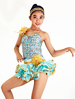 Jazz Dresses Women's / Children's Performance Spandex / Paillettes / Sequins 2 Pieces Light Green Jazz Sleeveless