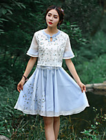 Our Story Women's Embroidered Blue SkirtsVintage Knee-length